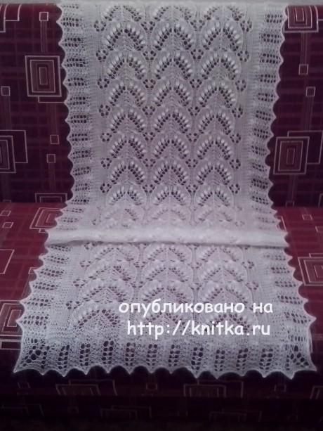 Вязаная спицами шаль. Работа Ивановой Светланы вязание и схемы вязания