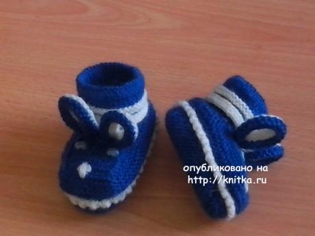 Вязаные спицами пинетки. Работа Ивановой Светланы вязание и схемы вязания