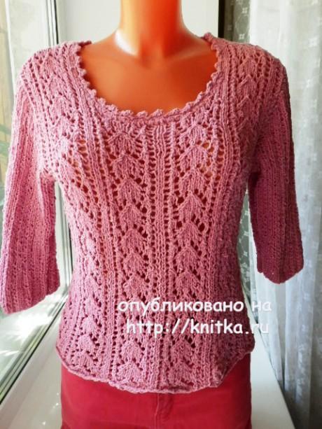 Женский пуловер спицами. Работа Елены Мерцаловой вязание и схемы вязания