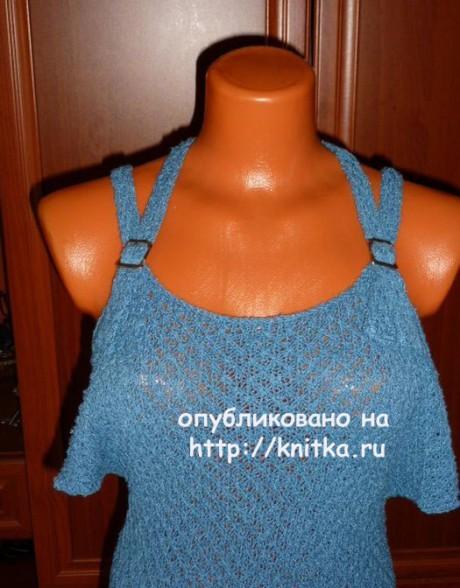 Асимметричная туника на бретелях спицами. Работа Марины Ефименко вязание и схемы вязания