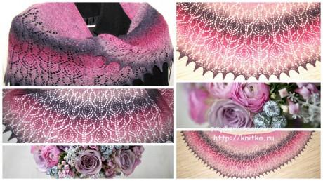 Шаль Аромат роз. Работа Арины вязание и схемы вязания