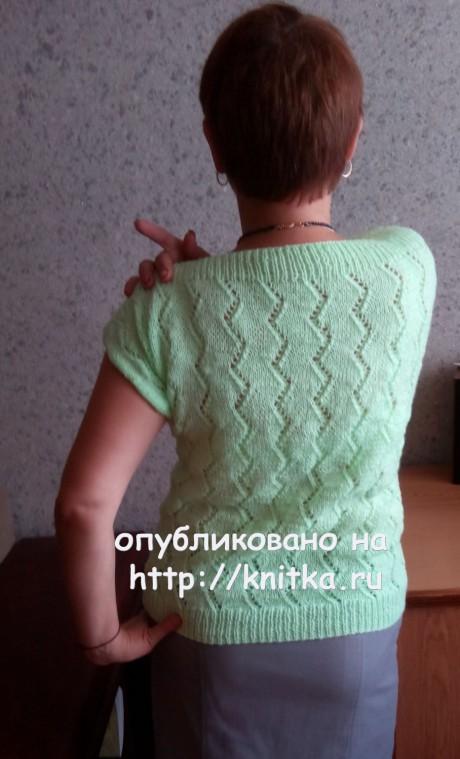 Женский джемпер спицами. Работа Валерии вязание и схемы вязания