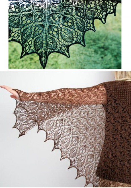 Вязаная спицами шаль Ламинария