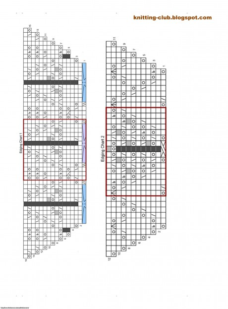 схема вязания шали Ламинария спицами