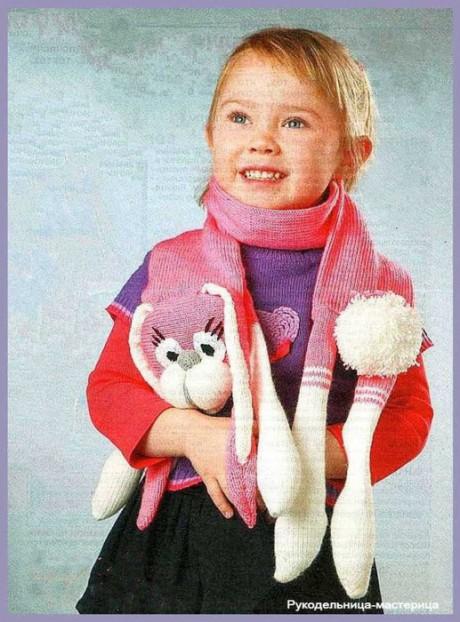 как связать шарф для девочки спицами
