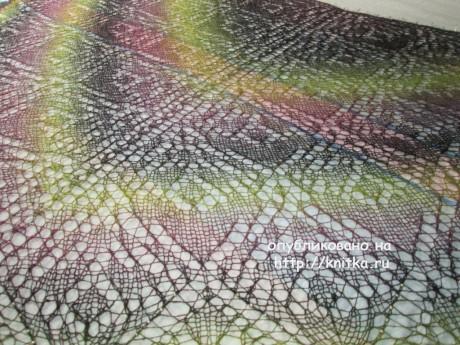 Авторская шаль спицами Букет из орхидей. Работа Аллы вязание и схемы вязания