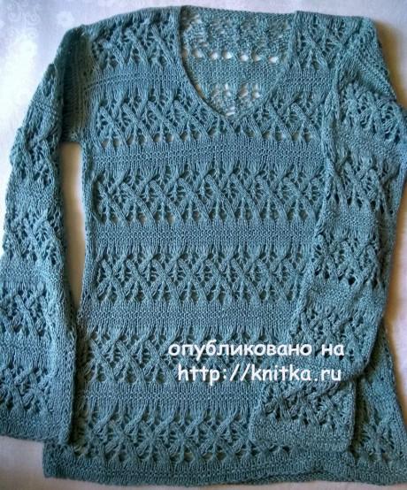 Ажурный пуловер спицами, работа Ирины