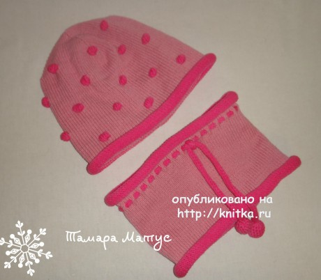 Комплект Розовые пузырики. Работа Тамары Матус вязание и схемы вязания
