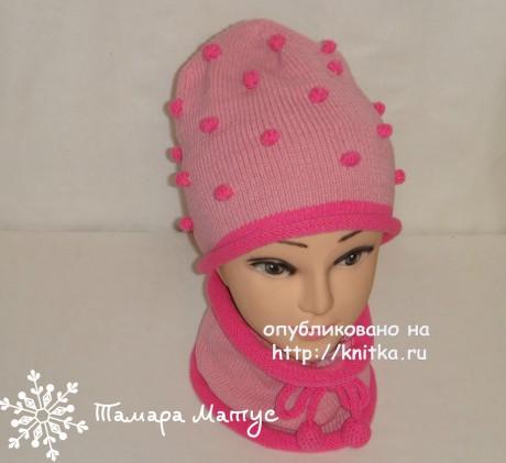 Комплект Розовые пузырики - шапка и снуд. Работа Тамары Матус. Вязание спицами.