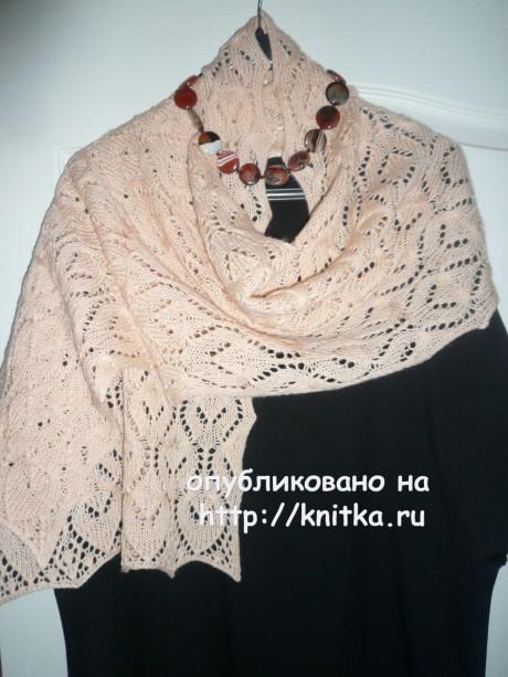Палантин Роза чайная. Работа Ольги вязание и схемы вязания