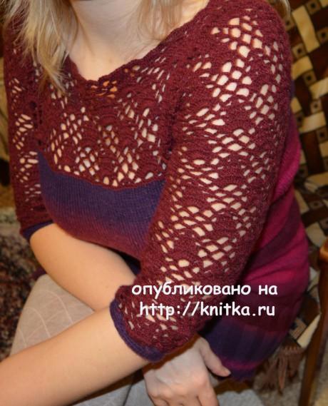 Платье комбинированное. Работа Оксаны вязание и схемы вязания