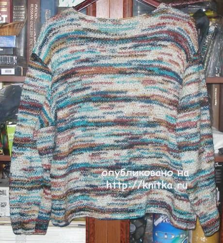 Пуловер из цветной пряжи. Работа Елены вязание и схемы вязания