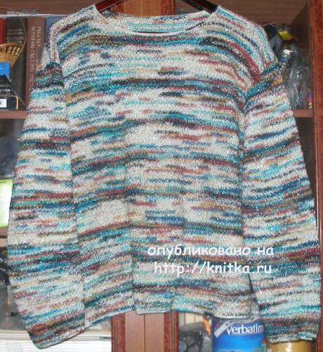 Пуловер из цветной пряжи. Работа Елены. Вязание спицами.
