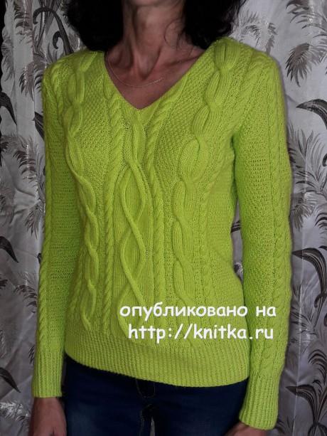 Пуловер с аранами. Работа Марины Ефименко вязание и схемы вязания