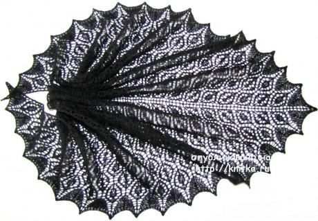 Шаль Ажурная сеть. Работа Арины вязание и схемы вязания