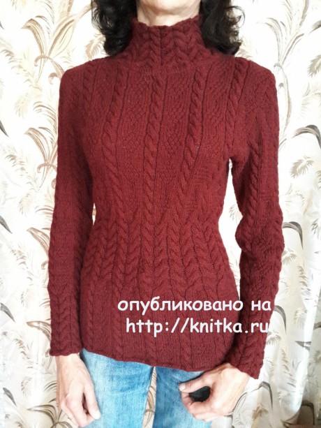 Женский свитер спицами. Работа Марины Ефименко. Вязание спицами.