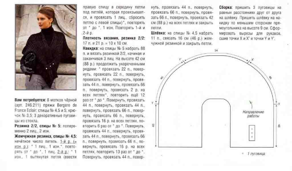 Накидка связанная спицами схемы и описание