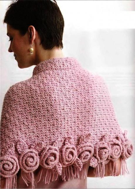 фото вязаной накидки с розами