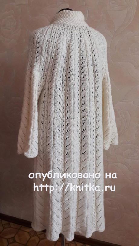 Ажурное пальто Осенний блюз. Работа Елены Саенко вязание и схемы вязания