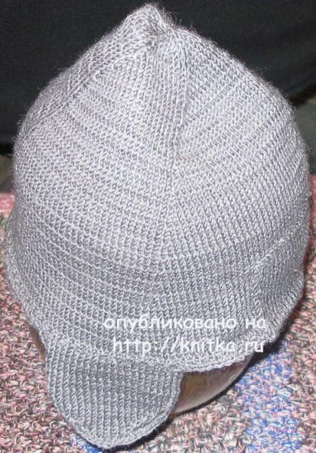 Мужская осенняя шапка спицами. Работа Елены вязание и схемы вязания