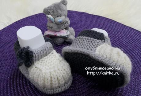 Пинетки - башмачки спицами. Работа Людмилы вязание и схемы вязания