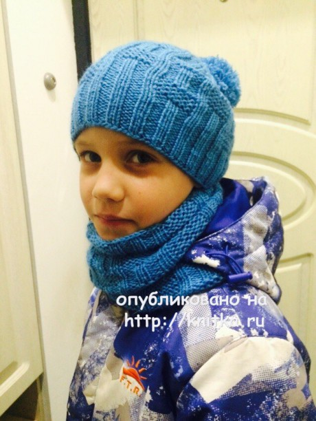 Шапочка и шарф для мальчика. Работы Татьяны вязание и схемы вязания