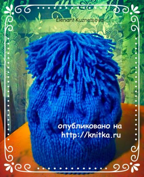 Шапочка с помпоном. Работа Елены вязание и схемы вязания