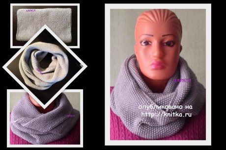 Knit a scarf-collar with knitting needles, the work of Larisa Velichko