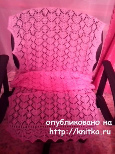 Палантин спицами. Работа Ивановой Светланы вязание и схемы вязания