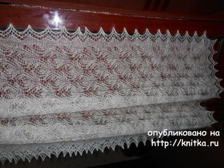 Палантин спицами. Работа Нины Ивановны вязание и схемы вязания