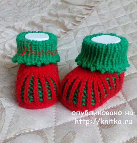 Пинетки Ягодки. Работа Риммы вязание и схемы вязания