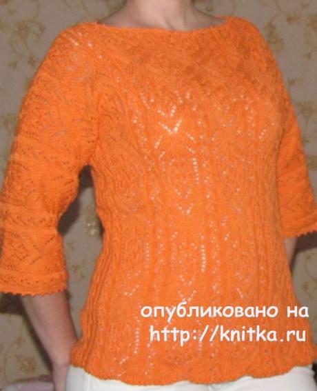 Пуловер спицами Апельсиновое настроение. Работа Арины вязание и схемы вязания