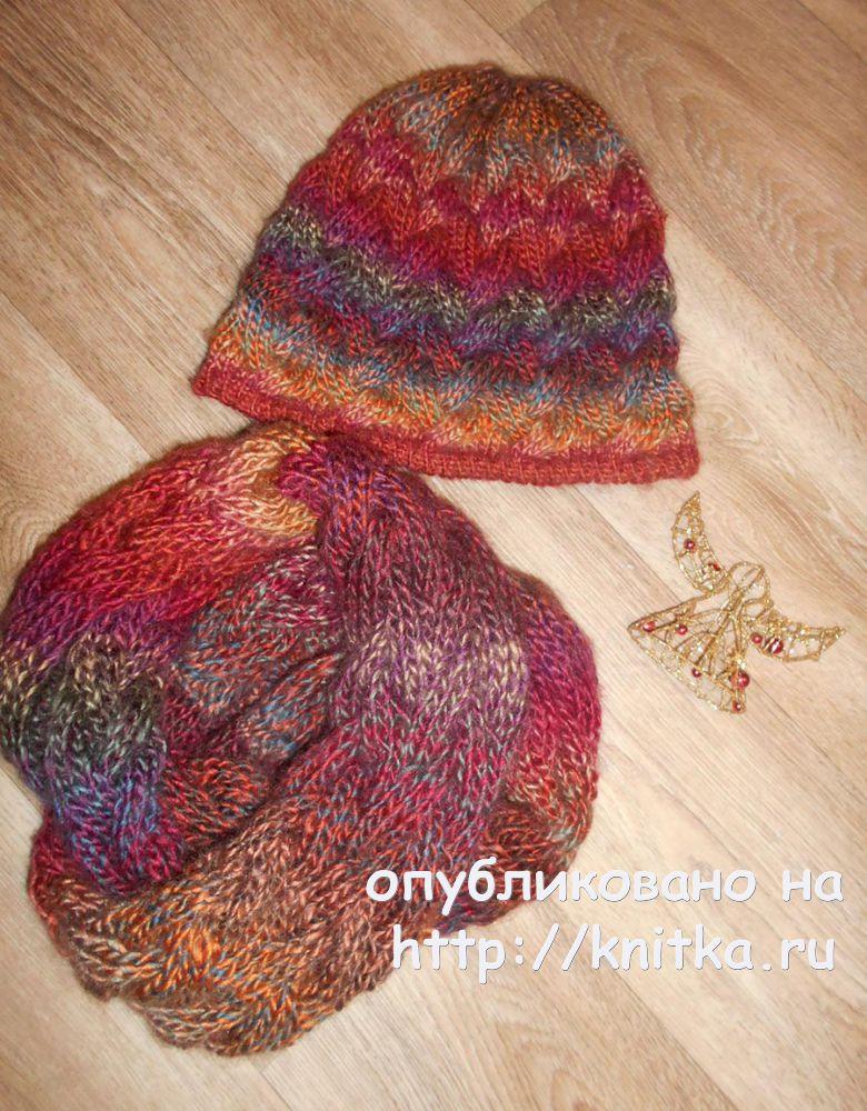 шапка и снуд с косами работы Tatven вязание для женщин