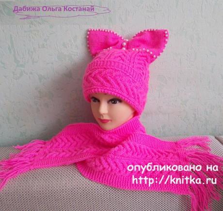 Шапочка и шарф спицами. Работы Ольги вязание и схемы вязания