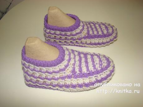 Вязаные спицами тапочки. Работа Татьяны вязание и схемы вязания