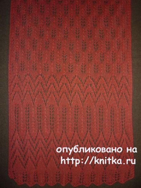 Ажурный палантин. Работа Елены Владимировны вязание и схемы вязания