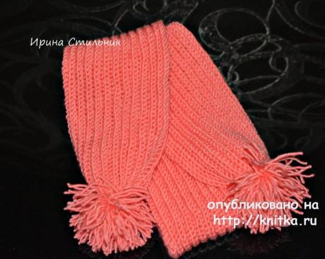 Детский шарфик спицами. Работа Ирины Стильник вязание и схемы вязания