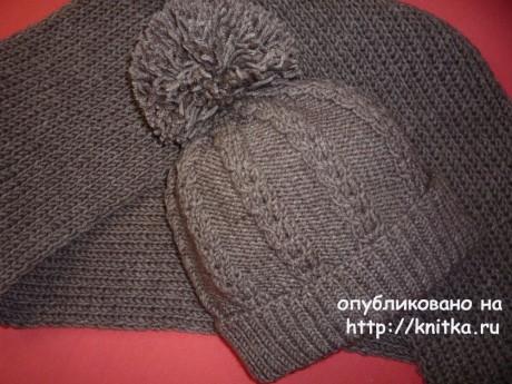 Шапочка и шарф для девушки. Работы Елены Владимировны вязание и схемы вязания