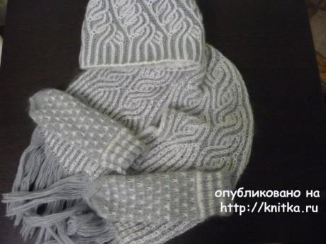 Шапочки и шарфы в технике бриошь. Работы Натальи Самойловой вязание и схемы вязания