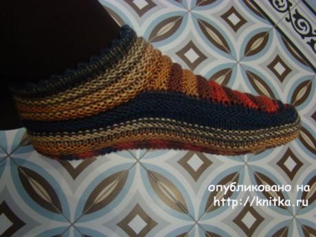 Тапочки спицами. Работы Татьяны вязание и схемы вязания