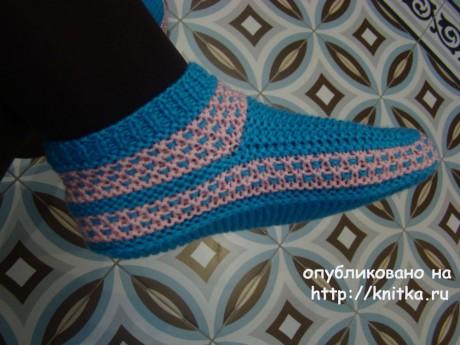 Вязаные спицами тапочки. Работы Татьяны вязание и схемы вязания