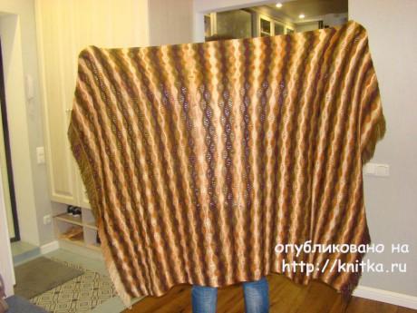 Вязаный спицами плед. Работа Татьяны вязание и схемы вязания