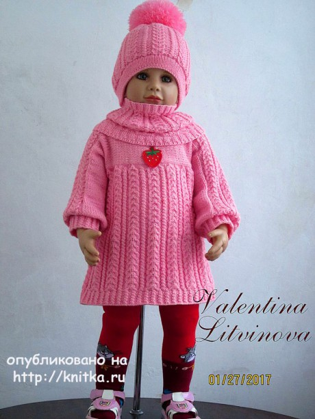 Комплект для девочки Ягодка. Авторская работа Валентины Литвиновой. Вязание спицами.