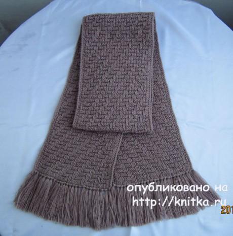 Мужской комплект шапочка и шарф. Работа Валентины Литвиновой вязание и схемы вязания