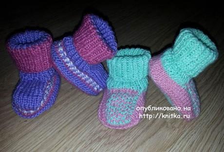 фото вязаных пинеток носочков