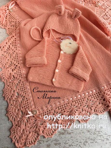 Плед, кофта и шапочка для малыша. Работы Марины Стоякиной. Вязание спицами.