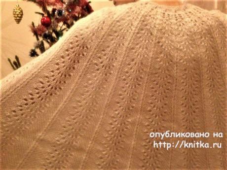 Пончо - жакет Крылья спицами. Работа Татьяны вязание и схемы вязания
