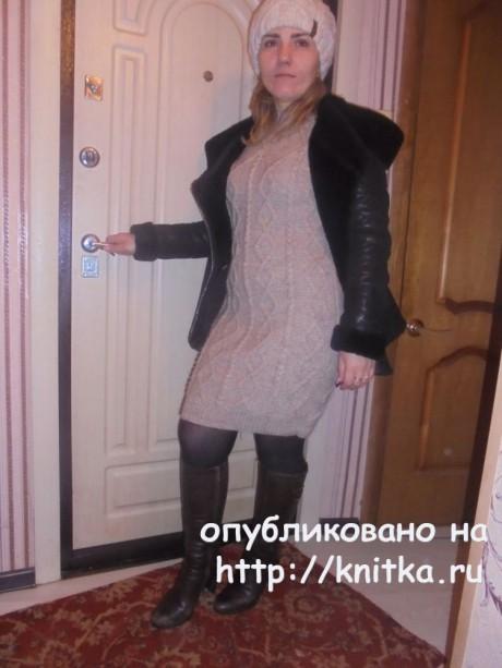 Вязаное спицами платье. Работа Татьяны Ивановны. Вязание спицами.