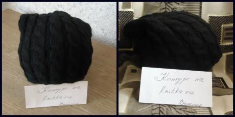 женская шапка спицами с косами