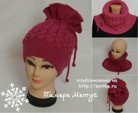 женская шапка спицами с описанием